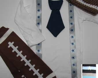 DALLAS COWBOYS inspired football outfit for baby boy - tie bodysuit with suspenders, crochet hat, leg warmers
