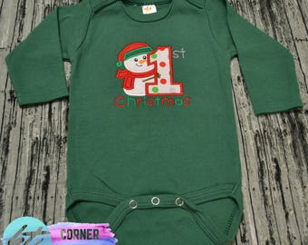 My First Christmas Embroidered Bodysuit