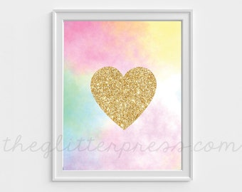 Printable Gold Glitter Heart print, 8x10 Instant Download Nursery, faux glitter rainbow printable digital, love art, INSTANT DOWNLOAD