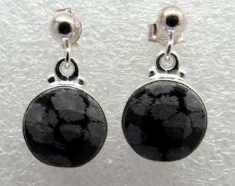 925 Sterling Silver Earrings with Natural Snowflake Obsidian Gem stones 11mm Round Ball Post Dangle Earrings