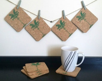 Palm Tree Coasters - Tropical Coasters - Cork Coasters - Hostess Gift - Tropical Gift - Valentine's Day Gift - Summer Decor - Sets of 4 or 8