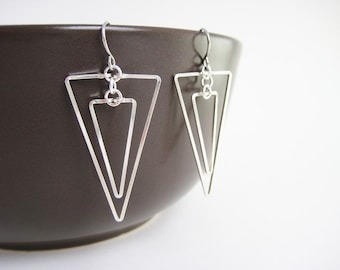 Triangle Earrings - silver geometric, science jewelry, college student gift - Linked Down
