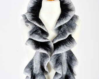 nuno felted scarf | merino wool scarf boa | Christmas gift for her | evening scarf | ruffle felt scarf ascot | birthday gift | black white