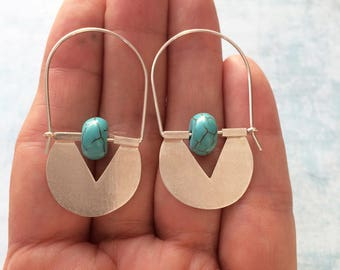 Sterling silver tribal hoop earrings - turquoise earrings - geometric earrings - ethnic earrings -contemporary jewelry -geometric jewellery