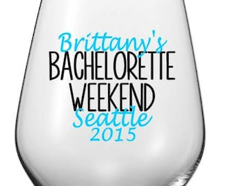 Plastic Personalized Stemless Wine Glass, Custom Bachelorette Weekend Cups, Personalized Party Cups, Bachelorette Party Cups