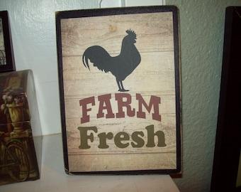 Farm Fresh sign block,Farmhouse decor,Kitchen wall decor,Rustic home decor,Kitchen decor,Kitchen sign