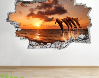 Dolphin Sunset Wall Sticker 3d Look - Ocean Porthole  Beach Bedroom Lounge Z284