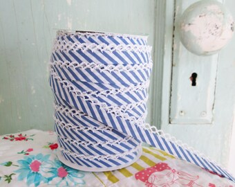 Royal Blue Stripe Quilt Binding Bias Tape (No. 111).  Double Fold Bias Tape.  Quilting Supplies.  Binding Tape.