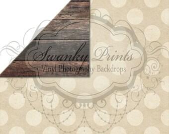 NEW ITEM / 5ft x 5ft REVERSIBLE Vinyl Backdrop / Double sided / Dark Grungy Wood & Tan Dots