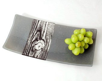Woodgrain fused glass serving platter