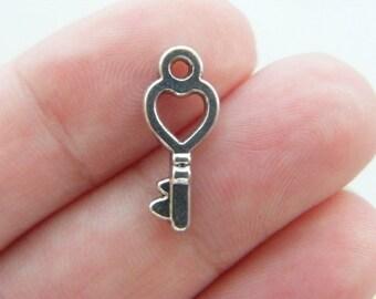 30 Key charms antique silver tone K82