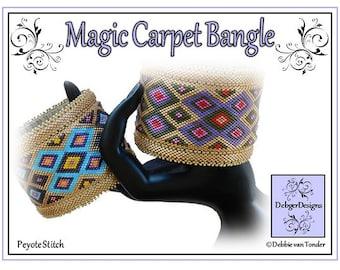 Beading Peyote Pattern, Tutorial, Bangle - MAGIC CARPET