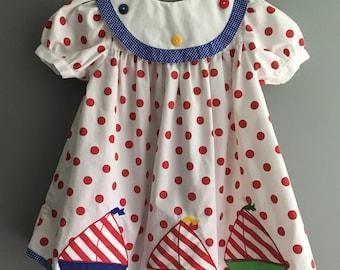 Vintage polka dot primary color bibbed sailboat dress 3/4/5