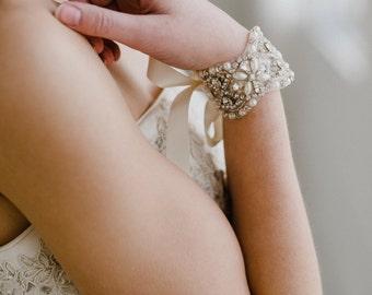Rhinestone Bridal Cuff | Pearl Wedding Bracelet | Crystal Bridal Cuff Bracelet | Ivory Pearl Bridal Cuff  | Sophie Bridal Cuff