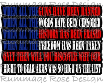 second amendment to the constitution protect gun rights Sublimation Transfer 8.5x11 Ready to Press —HTV alternative graphic —more colorful