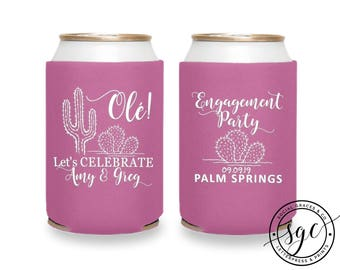 Cactus Wedding Can Coolers | Personalized Can Coolies | Monogram Beer Sleeves | Can Insulator | Cute Can Coolers | Made to Order Gifts