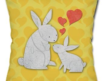 Bunny Rabbit Love Throw Pillow