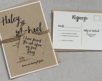 Modern Rustic Wedding Invitation Kraft Wedding Invitation