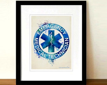"Watercolor EMT - Fine Art Print, 8.5"" x 11"", Star of Life, Emergency Medical Technician gift, First Responder gift, Firefighter /EMT gift"