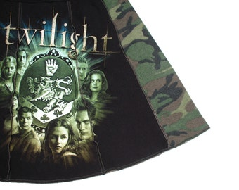 Twilight - Upcycled Tee Skirt Womens Med skirt - Cast Faces black green camo mocha upcycled clothing Cullen Crest skirt vampire OOAK unique