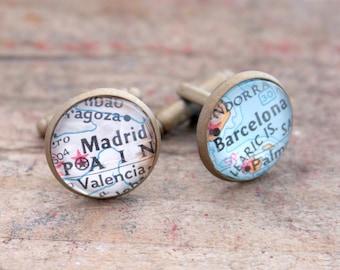 Spain Map Cufflinks Mens Map Cuff Links Gift For Man Barcelona Madrid Map Cufflink Modern Accessories Gemelos de Español Bouton de Manchette