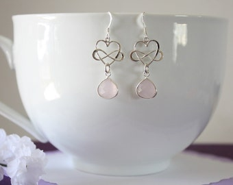 Infinity Heart Sterling Silver Earrings Pink, Pink Earrings, Green Infinity Earrings, Infinity Jewelry, Bridesmaid Gift, Dangle Earrings