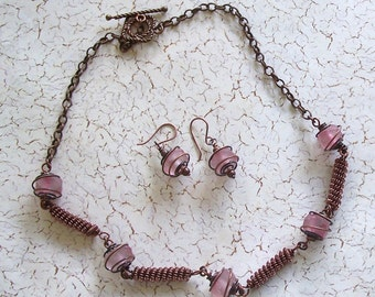 Pink Faceted African Glass and Coiled Wire Bead Necklace and Earrings by Carol Wilson of Je t'adorn