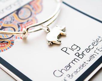 Friendship Bracelet - Girlfriends Wish Bracelet - Silver Bangle Pig Bracelet - Intention Bracelet