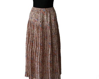Vintage Beige Floral Pink  Accordion Long Skirt Large Size Made in England