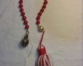 Red Gold and Pearl Paternoster Prayer Beads