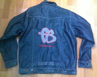 FUBU jacket, vintage shiny denim jacket, shiny blue jacket, 90s hip-hop clothing, 1990s hip hop shirt, OG, gangsta rap, size M Medium