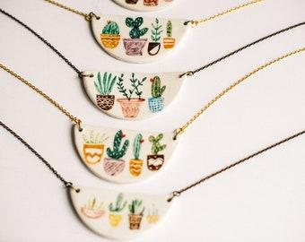 Cactus Pots Ceramic necklace/Cactus illustration, ceramic jewelry, ceramic cactus necklace, Plant jewelry, cactus pendant,