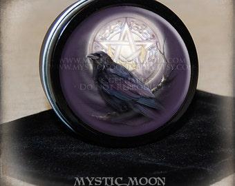 Raven/ Moon / Stitch Marker Tin / Notion Tin / Storage Tin / Pill Box / Gift Tin / Tin Box / Alter Supplies / Pentagram /Crow /Pagan /Wiccan