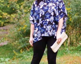 Ladies Floaty Florence PDF Sewing Pattern - XXS to 5XL, high or boat line neck, high or low hem, double flat-fell seam option & tutorial