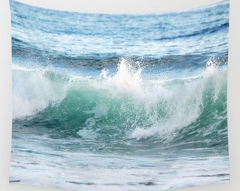 Ocean Wave Tapestry, Beach Wall Hanging, Surf Wall Tapestry, Sea Green Wall Hanging, Ocean Blue Waves Wall Tapestry, Large Wall Home Decor