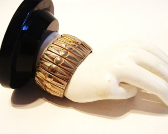 Vintage Expandable Cuff Bracelet Gold Tone 1.25 inches Wide Mid Century