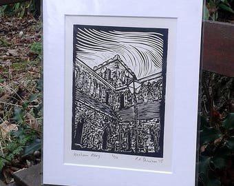Hexham Abbey - limited edition lino print