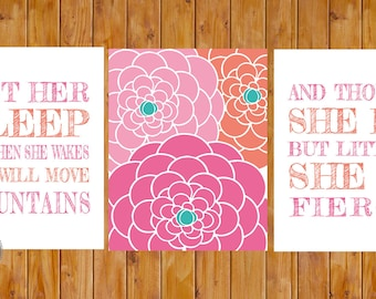 Let Her Sleep She Will Move Mountains And Though She Be But Little Fierce Floral Nursery Wall Art 3 11x14 Digital JPG  (213)