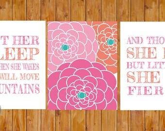 Laissez son sommeil She Will déplacer les montagnes et si elle être mais peu féroce Floral Nursery Wall Art 3 11 x 14 numérique JPG (213)