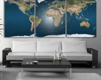 Panel Split World Map Canvas Print Deep Frames - World map for office wall