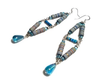 Geeky Fun and Funky Long Geometric Earrings Upcycled Dangle Earrings  Resistors in Blue and Gray