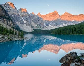 Banff Landscape Photography Print - Canadian Rockies Sunrise Moraine Lake Canada - Mounted / Hanging Options - 11x14 16x20 20x30 24x36 30x45