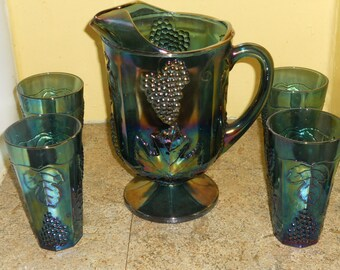Georgeous Irridescent Blue Harvest Carnival Glass-Indiana Glass-Pitcher & 4 Glasses