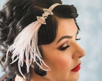 RHINESTONE 1920s headband ostrich feather wedding Headpiece, rhinestone flapper headband fascinator, silver flapper dress fan shape Art Deco