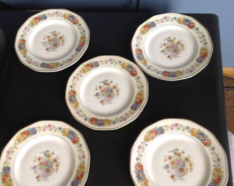 "REDUCED SET Theo Haviland Limoges Azay Le Rideau salad plates 7 1/2"" Set of five"
