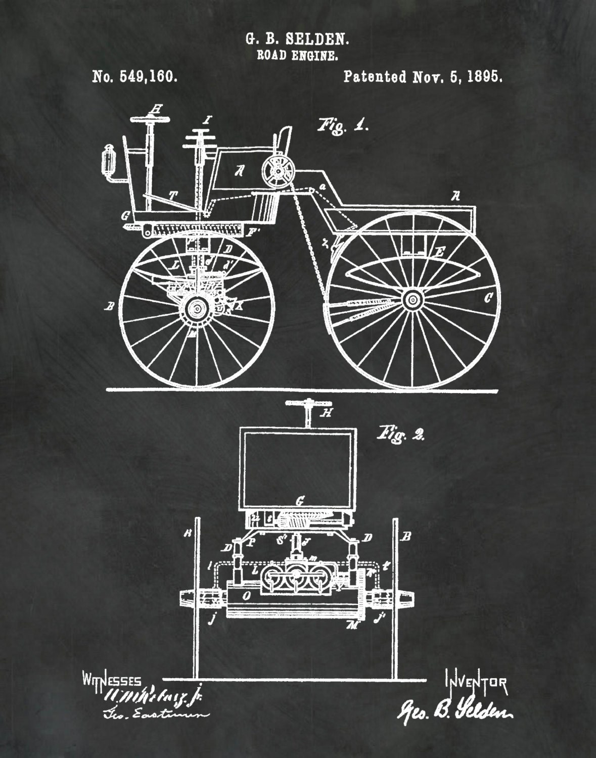 Patent 1895 Automobile - Road Engine Invented by George Selden ...
