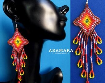 Mexican earrings, Native american earrings, Mexican folk art, Mexican Jewelry, Boho earrings, Huichol Earrings, Native Jewelry, AO-0110