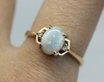 Geometric Opal Diamond 14k Gold Ring   Thin Diamond Gold Ring   Bridesmaids Gift   Genuine Opal Stone  