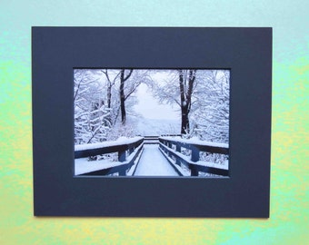 Matted 5x7 Fine Art Snowfall Symmetry Winter Photography Print, Signed Artwork