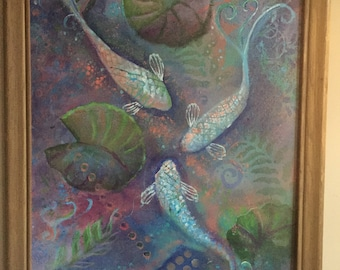 Pastel Koi Lily pond Acrylic painting original art Wall Decor Impressionism